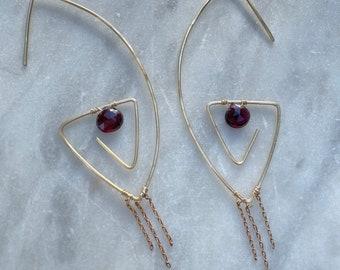 Garnet Fringe Paperclip Earrings