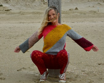 handmade diagonal striped one piece sweater