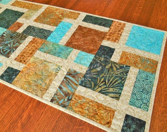 Coffee Table Runner Summer Table Decor Dining Table Runner Modern Quilted Batik Table Runner in Turquoise Brown Gold Indigo