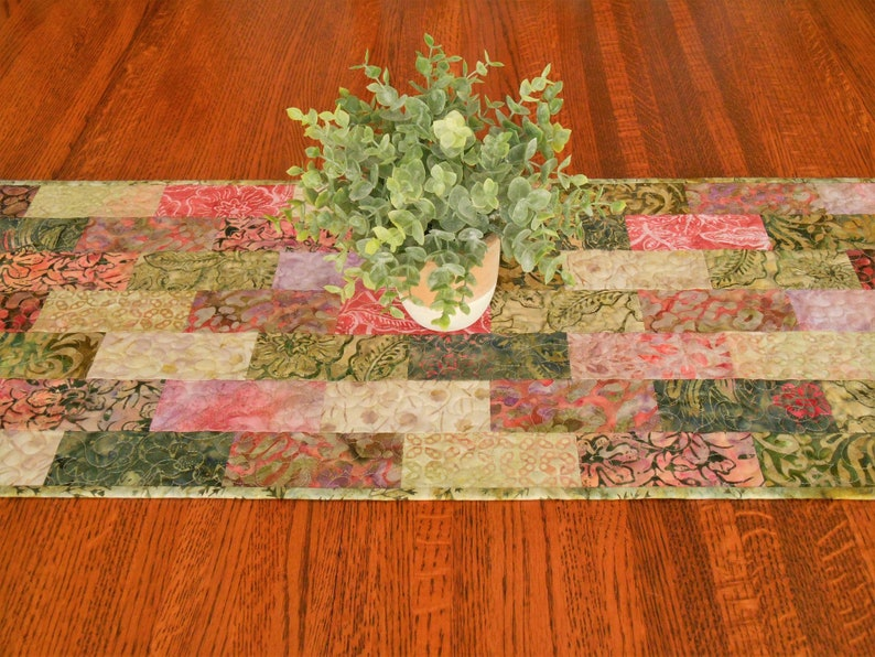 Coffee Table Runner.Quilted Batik Table Runner In Shades Of Green And Pink Coffee Table Runner Small Dining Table Runner Dresser Runner Bedroom Decor