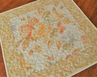 Quilted Square Table Topper with Roses and Birds, Yellow Peach and Blue, Cottage or Farmhouse Chic Decor, Floral Table Topper, Bedroom Decor