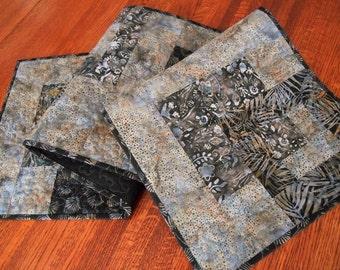 Black and Gray Modern Quilted Table Runner, Batik Table Quilt, Dining Table Decor, Dresser Runner, Modern Home Decor, Coffee Table Runner