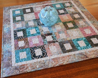 Quilted Batik Table Topper in Shades of Pink Aqua Blue and Brown, Large Table Topper, Quilted Tablecloth, Dining Table Decor Wedding Gift