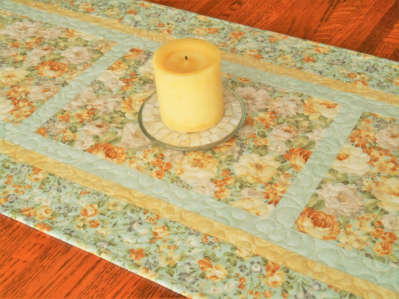 Surprising Quilted Floral Table Runner In Aqua Yellow Gray Dresser Runner Bureau Scarf Flower Table Runner Cottage Shabby Chic Decor Download Free Architecture Designs Remcamadebymaigaardcom