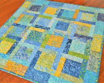 Quilted Square Table Topper in Bright Blue Yellow and Green Batiks, Summer Outdoor Table Decor, Quilted Table Runner, Square Table Top Quilt