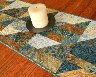 Quilted Modern Table Runner in Blue and Brown Batiks, Dining Table Decor, Coffee Table Runner, Quilted Tablecloth, Dresser Runner
