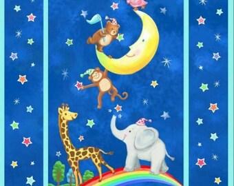 Elephant Moon Rainbow  - Fabric Quilt Baby Panel - Cotton Woven Fabric