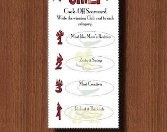Printable Chili Cook Off Scorecards