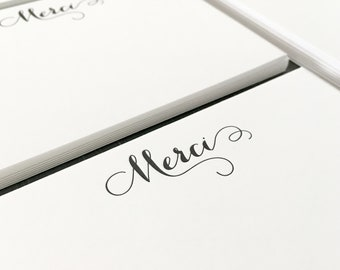 Curlicue Merci Letterpress Stationery - Set of 6 Flat Notes, Modern Calligraphy, Thank You, Wedding, Bridal, Shower