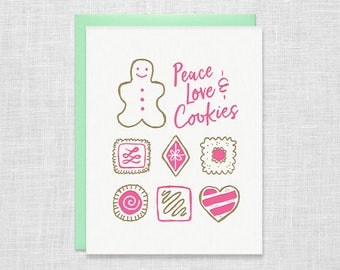 Peace Love and Cookies Letterpress Holiday Card