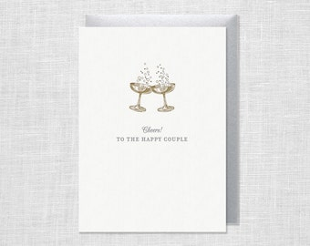 Letterpress Cheers Champagne Wedding Greeting Card
