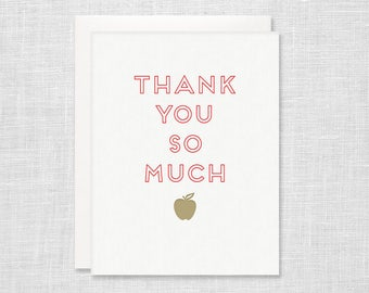 Letterpress Teacher Thank You Card - Apple Thank You So Much - Teacher Appreciation