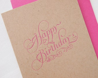 Letterpress Happy Birthday Greeting Card - Kraft