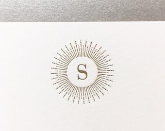 Sunburst Initial Letterpress Stationery - Custom Note Set - Monogram Letterpress Stationery - First Anniversary Gift