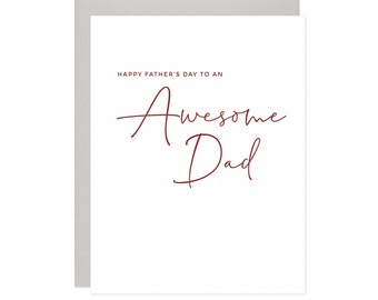 Awesome Dad Card, Letterpress Father's Day Card, Happy Father's Day Card