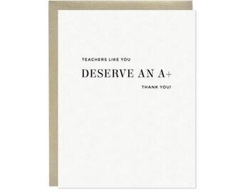A+ Teacher Thank You Card, Letterpress Teacher Thank You Card, Teacher Appreciation Card
