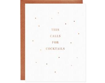 This Calls for Cocktails Card - Foil Congratulations Card, Congrats Card, Modern Birthday Card, Minimalist Birthday Card, Celebration Card