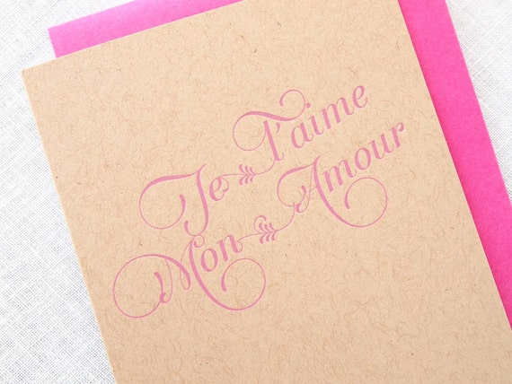 Letterpress Je Taime Mon Amour Valentines Day Card Kraft