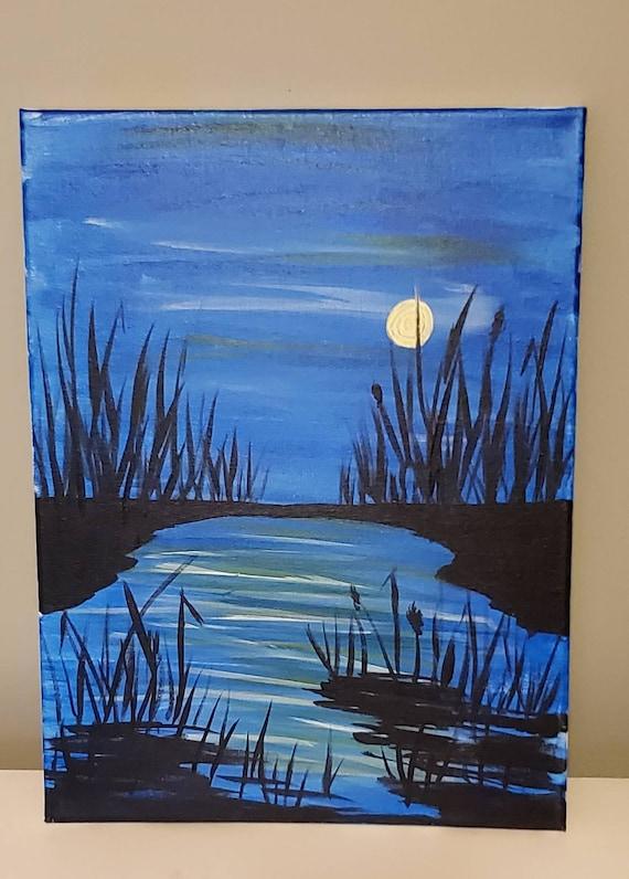Acrylic Painting 12x16 Canvas Night Sky Silhouette Blue Etsy