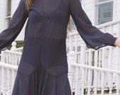 1920s Navy Sheer Chiffon Dress | S
