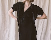 1930s Bias Cut Velvet Gown | XS