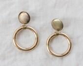 Vintage Gold Drop Hoop Earrings