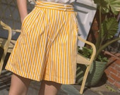 1980s Marigold Stripe Cotton Shorts | XS