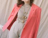 1980s Oversized Bubblegum Silk Blazer