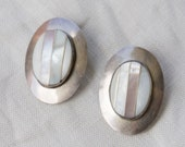 Vintage 80s Mother of Pearl Sterling Earrings