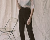 1990s Black Suede Leather Pants | XS