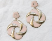 1980s Peach & Gold XL Earrings