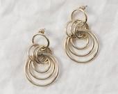 Vintage Gold Interlocked Hoop Earrings