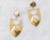 1980s Gold Shield Earrings