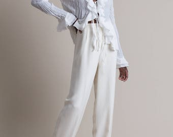 Vintage 90s Ivory Silk Flat Front Trousers | 2/4
