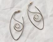 Silver Swirl Wire Drop Earrings