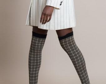 Vintage 50s Grid Knit Thigh-High Socks