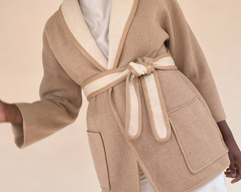 1950s Shawl Collar Belted Wool Jacket