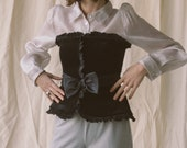 1980s Black Velvet Corset | sz 2/4