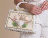 Vintage 60s Sea Shell Tableau Wicker Bag