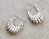 Sterling Scallop Shell Hoop Earrings