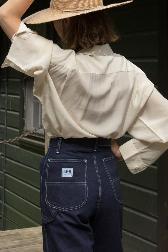 Vintage 1970s Lee Dark Denim Painter Jeans