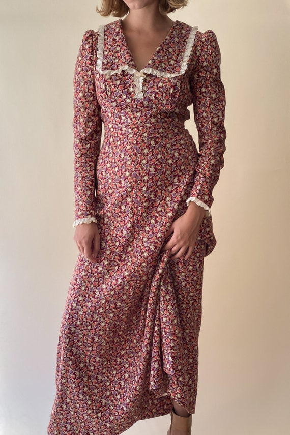 1970s Floral Cotton Prairie Dress