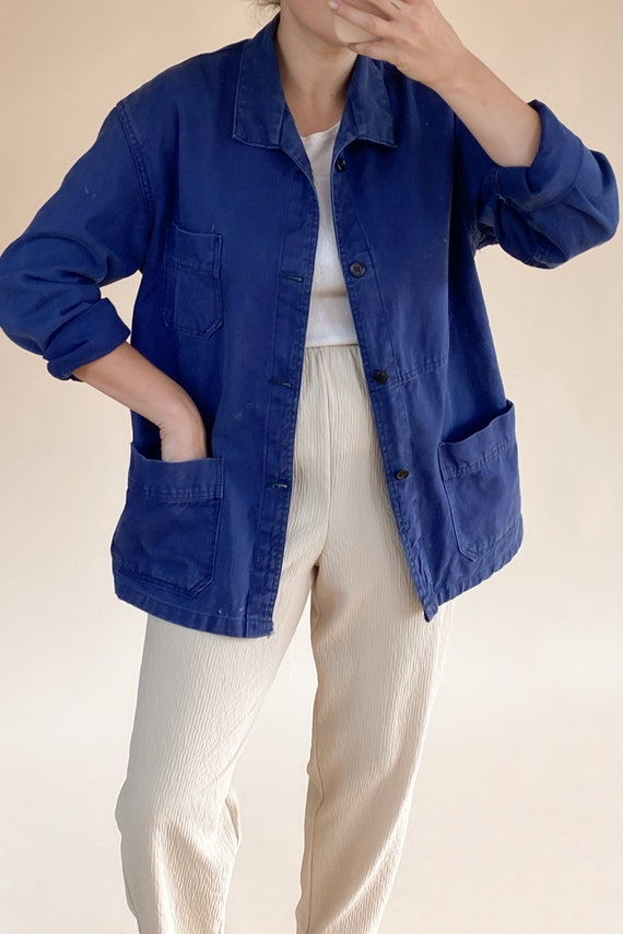French Indigo Cotton Chore Coat