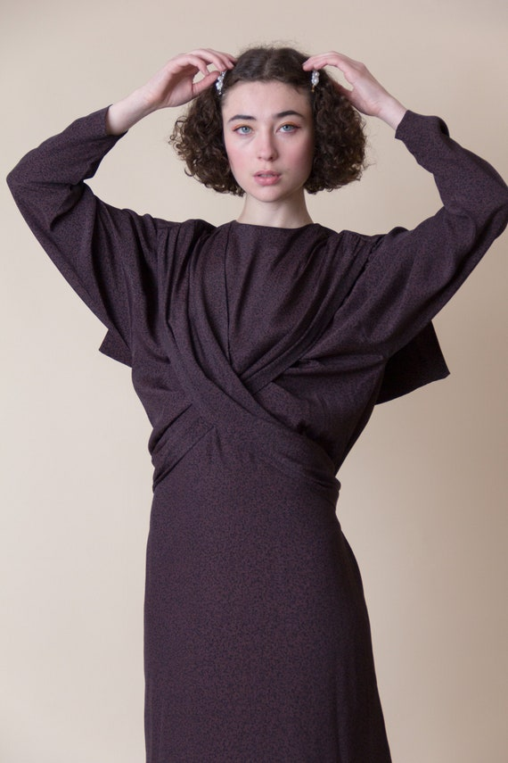 1980s Nicole Miller Dolman Dress