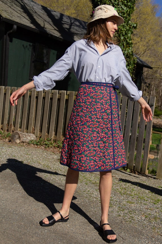 1960s Quilted Strawberry Apron Skirt