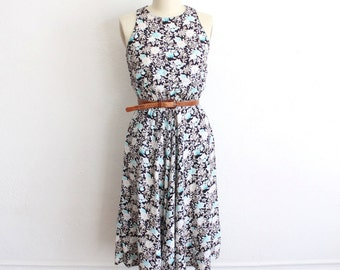 Vintage 80s Black White Floral Print Sleeveless Maxi Day Dress