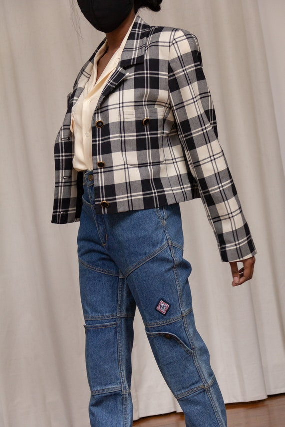 1990s Wool Plaid Cropped Blazer