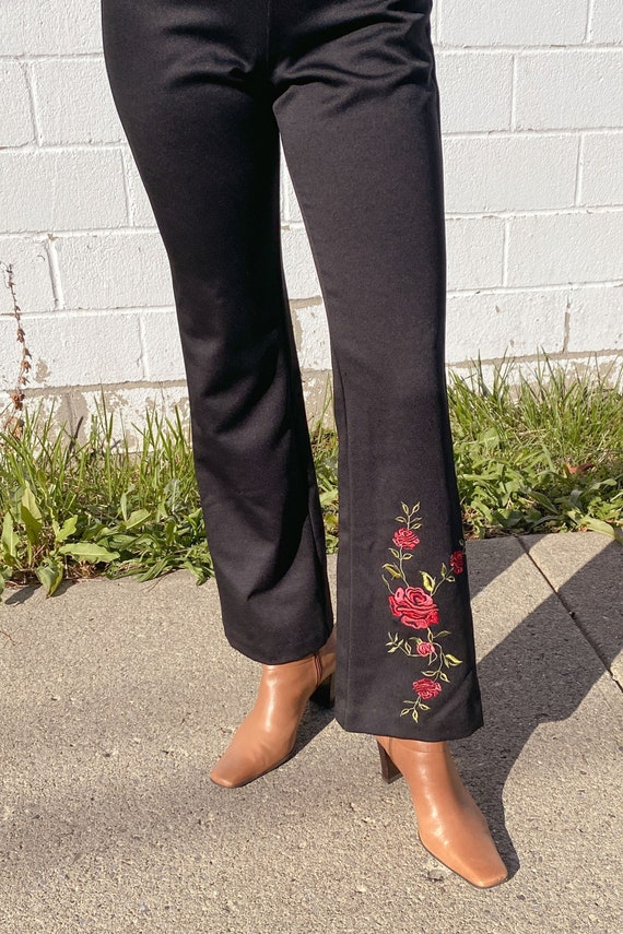 1990s Rose Embroidered Flares