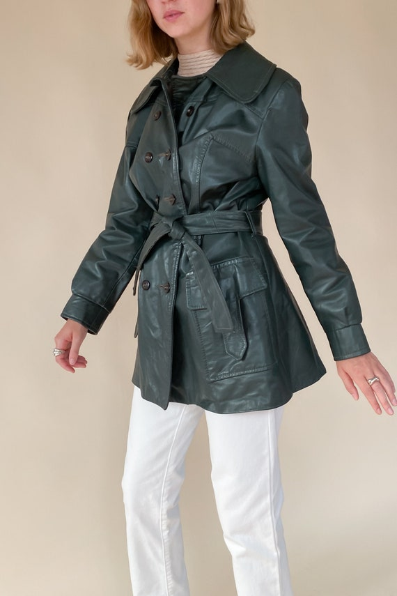 1970s Evergreen Leather Trench Jacket - image 2