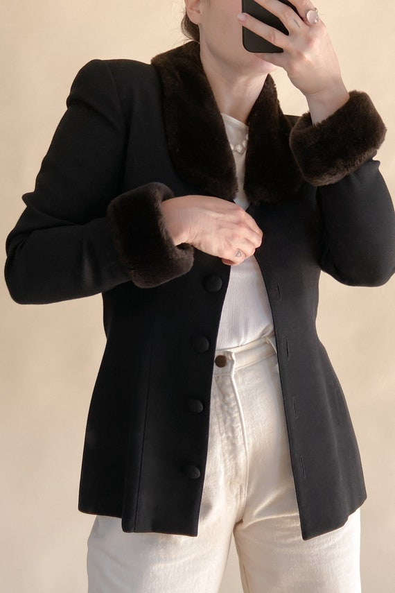 1990s Fur Collar + Cuff Wool Jacket